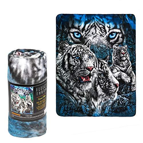 - JPI Fleece Throw Blanket - 12 White Tigers - Lightweight Faux Fur Fleece Blanket Large 50