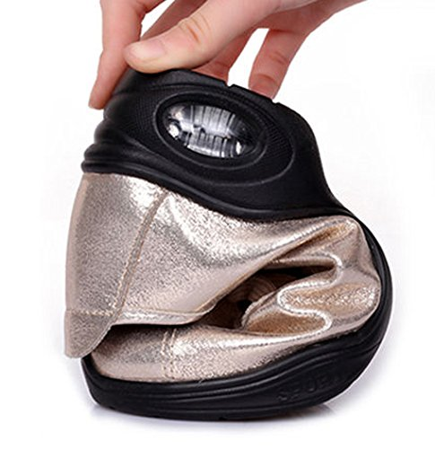 Abby 282 Mujeres Jazz Split Sole Lace Up Round Toe Low Top Zapatos De Baile Moderno Fresco Bota Golden