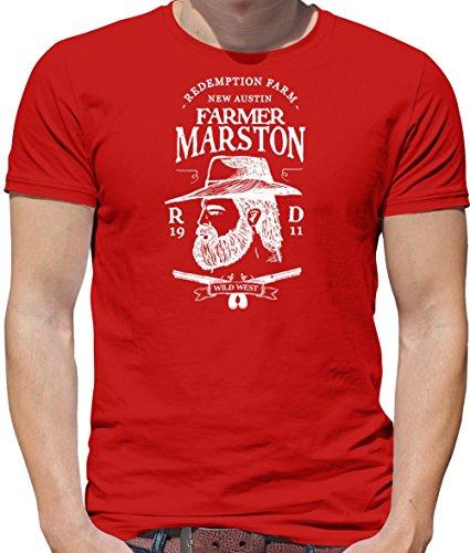Farmer Marston - Mens Crewneck T-Shirt - Red 3XL