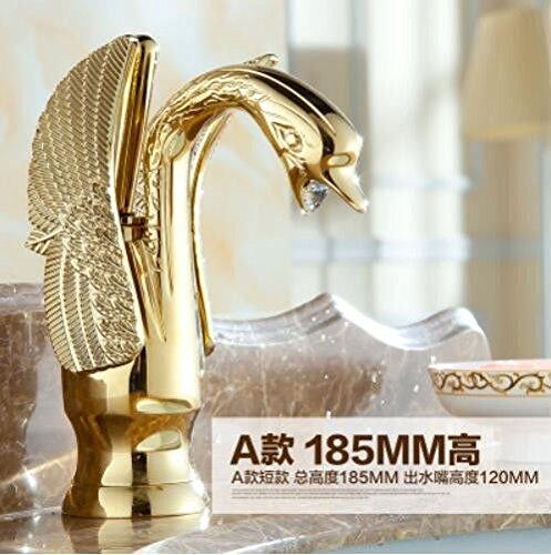 Decorry Goldenen Wasserhahn, aus Kupfer und Gold Antik Waschbecken Wasserhahn, Golden Swan Hahn Waschbecken Wasserhahn, Retro Wasserhahn, B