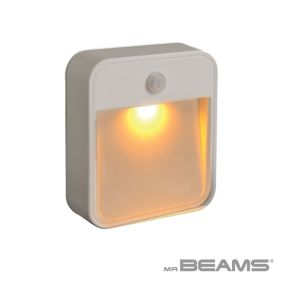 Mr. Beams MB720A Sleep Friendly Battery-Powered Motion-Sensing LED Stick-Anywhere Nightlight with Amber Color Light (1-Pack), White by Mr. Beams