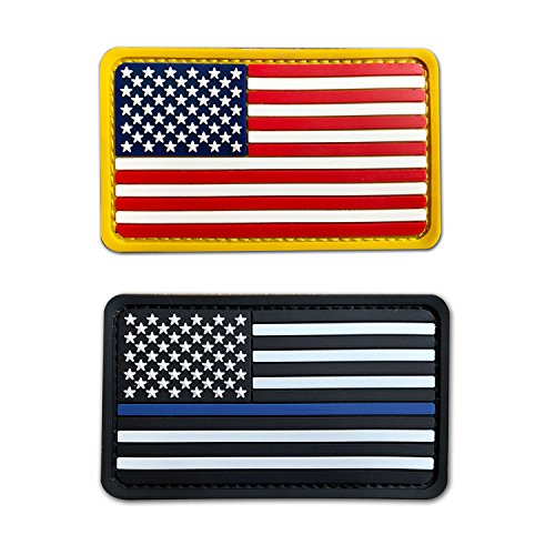 2x3.5 3D PVC Rubber US USA American Flag Patch Hook-Fastener Backing (Full Color+Thin Blue line)