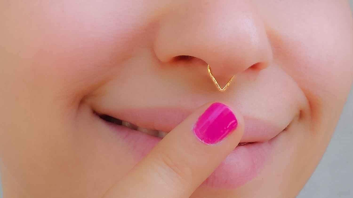 Amazon Com Fake Septum Ring Gold Filled Faux Triangle Nose