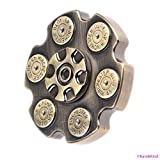 Fidget Hand Spinner - Six Shooter Gun Barrel Design - Brass Metal - Ultra Fast and Quiet - Superior R188 Ceramic Bearing - 6 Mins Spin Time - Relaxing and Fun Stress Reducing Toy - Boredom, ADD, ADHD