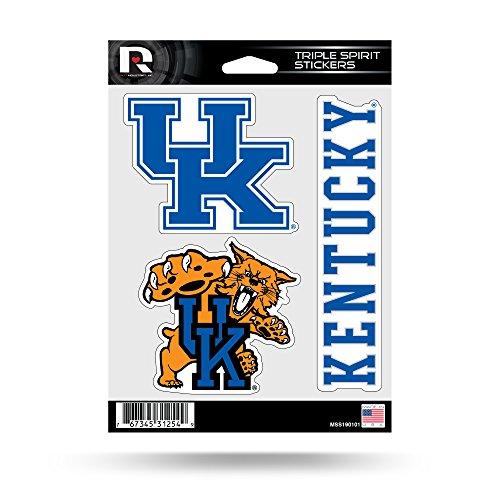 Wildcats Car (NCAA Kentucky Wildcats  Triple Spirit Stickers, Blue, Whtie, 3 Team Stickers)