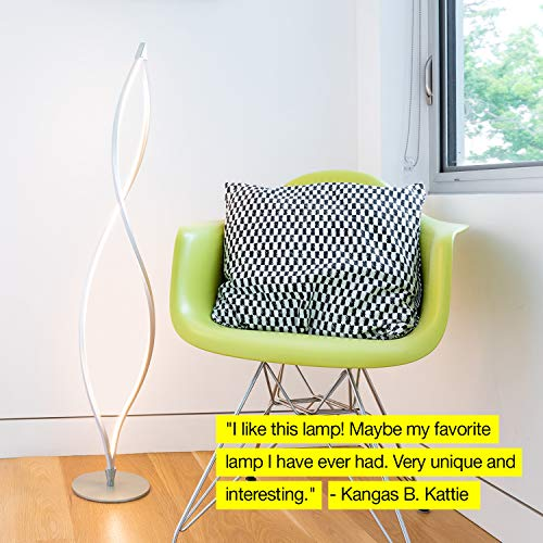 Brightech Twist - Modern LED Living Room Floor Lamp - Bright Contemporary Standing Light - Built in Dimmer Switch with 3 Brightness Settings - Cool, Futuristic Lighting - Silver