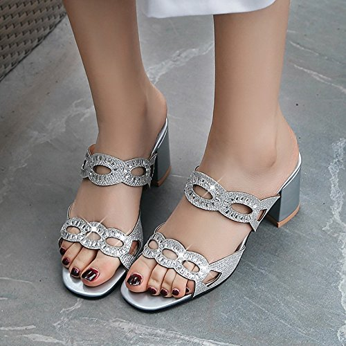 Bout Silver Sandales JOJONUNU Ouvert Femmes Mules Rq5nv0wO