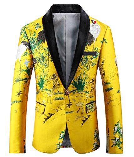 [해외]OUYE 남성용 럭셔리 옐로우 싱글 브레스트 블레이저 / OUYE Men`s Luxury Yellow Single Breasted Blazer 5X-Large