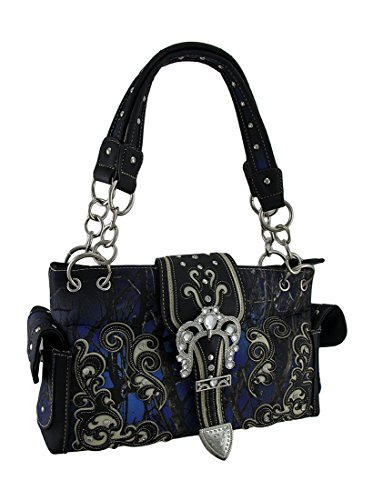 (Moonlight Camo Western Trim Rhinestone Buckle Studded Concealed Carry Handbag)