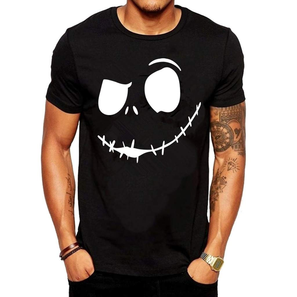 nanzhushangmao Men's Evil Smiling Face Summer Tee Adult Graphic T-Shirt Apparel Round-Collar Cotton Shirt Black