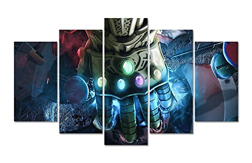 LMPTAR(TM) Framed 60x32inches Print 5 panels infinity gauntlet of avengers infinity war Marvel movie poster canvas wall art painting for children Kids Decor Home Decor Wall Art picture ready to hang