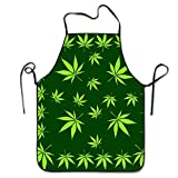 weed chef - Funny Apron Chef Kitchen Cooking Apron Bib Pot Leaves Weed Leaf Green Cooking Comfortable