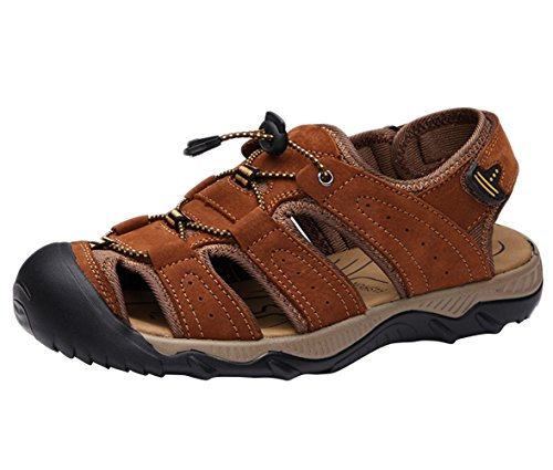 Shoes Sport Beach Men's Toe Leather Athletic Sandals Sandal Liveinu Brown Close BAz4qnz6