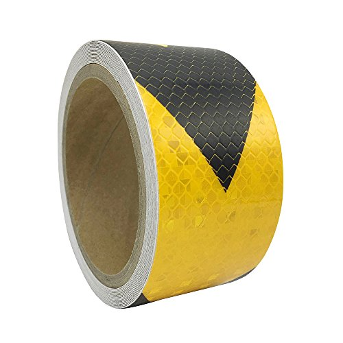 "2""x 118"" Industrial Aveolate Honeycomb Prismatic Pattern Conspicuity Reflective Arrow Design Safety Warning Caution Outdoor Tape Film Stickers Stripe for Truck Bus Guardrail Garage (Yellow-Black)"