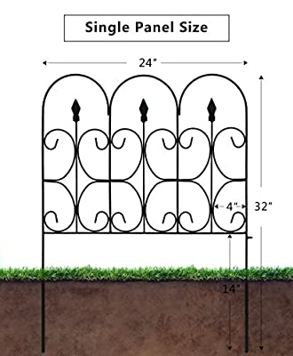 Amagabeli Decorative Garden Fence Outdoor Coated Metal Rustproof 32in x 10ft Landscape Wrought Iron Wire Border Folding Patio Fences Flower Bed Section Panels Decor Picket Edging Black