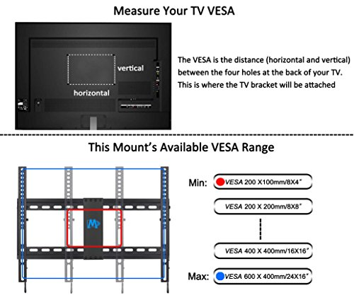 Mounting Dream MD2268-LK Tilt TV Wall Mount Bracket For Most of 37-70 Inches TVs with VESA 200×100 To 600x400mm and Loading Capacity 132 lbs, Fits 16″, 18″, 24″ Studs