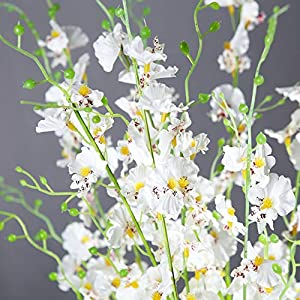 HuanhuaTC 8pcs Artificial Orchids Realistic Fake Flowers Arrangement for Home Party and Wedding Decor (White) 4