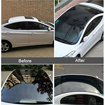 Glossy black car sunroof wrap roof film vinyl diy sticker waterproof air release 135x30cm