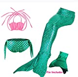 Chenzengdi Kids Girls Mermaid Tails for Swimming with Monofin Swimsuit 4 Pcs Bikini Sets