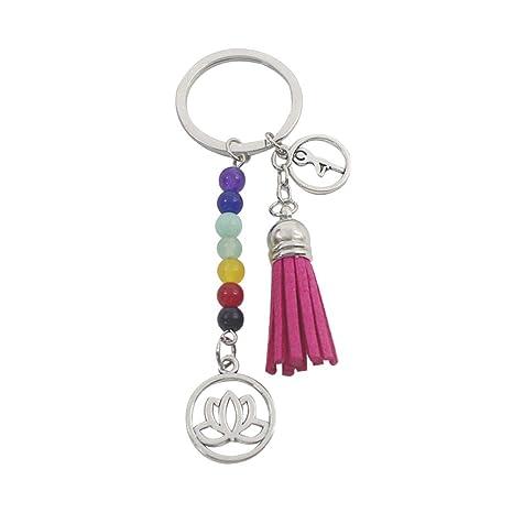 LIOOBO Creativo Siete Chakra Diseño Llavero de Yoga Colorido ...