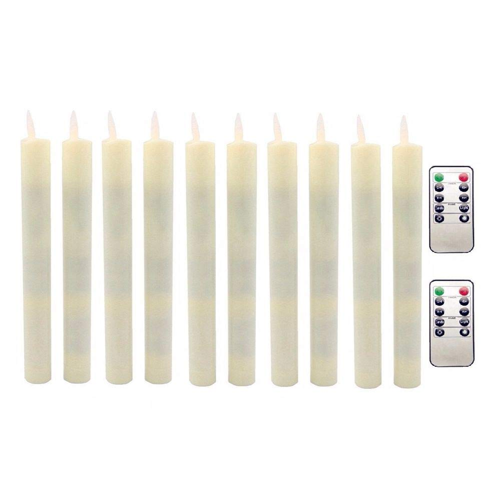 Spottek LED Taper Candles Decorative Flameless Moving Wick Candles with Remote Control Timer Dimmer for Christmas Party Thanksgiving Festivals Decoration (Ivory, Pack of 10) by Spottek