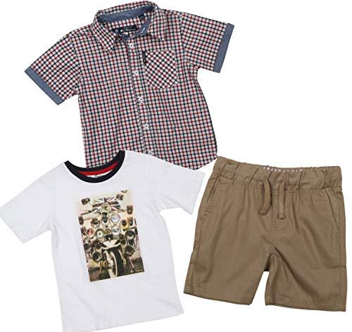 (Ben Sherman Boys 3 Piece Short Sleeve Shirt, T-Shirt, and Twill Short Set (Khaki/Plaid/White, 5)')