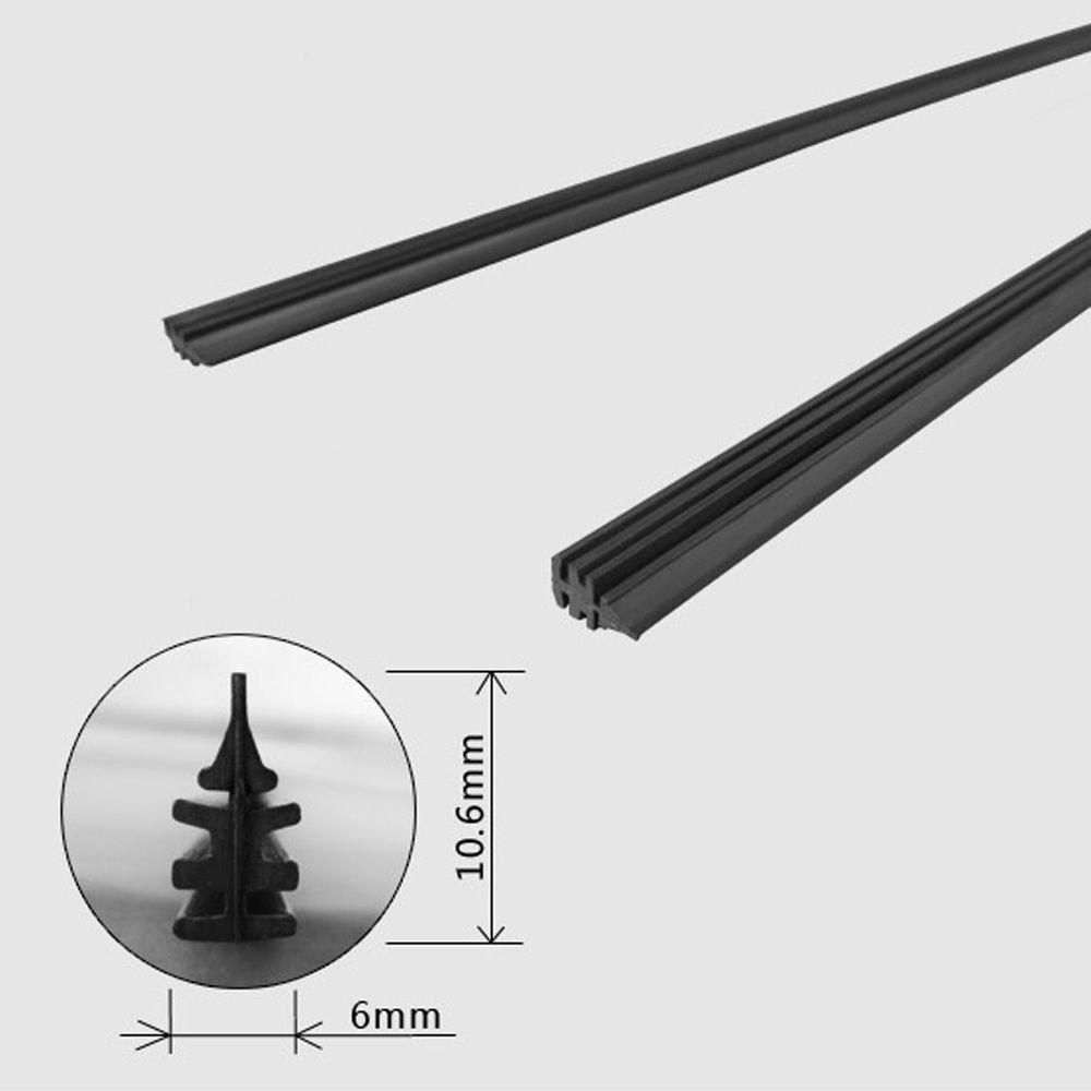 2 ricambi universali per spazzola di tergicristallo, 66 cm x 6 mm da tagliare a misura 66cm x 6mm da tagliare a misura ElecShield