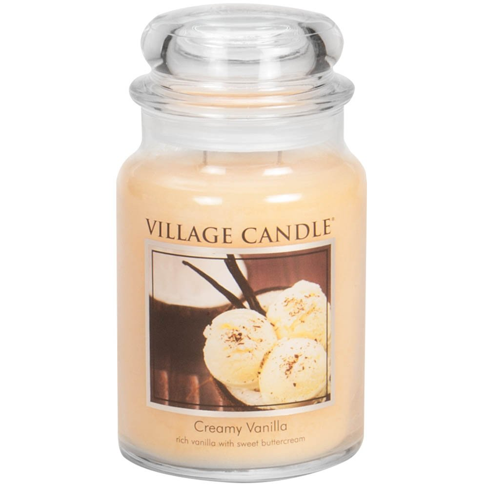 Village Candle Creamy Vanilla 26 oz Glass Jar Scented Candle, Large by Village Candle