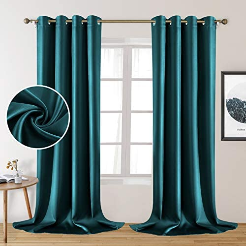 HOMEIDEAS 2 Panels Faux Silk Curtains Teal Blackout Curtains - the best window curtain panel for the money