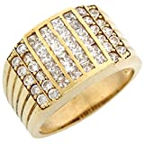 10k Gold CZ Channel Set Cluster Hip Hop Bling Mens Ring