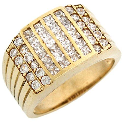 10k Gold CZ Channel Set Cluster Hip Hop Bling Mens Ring by Jewelry Liquidation