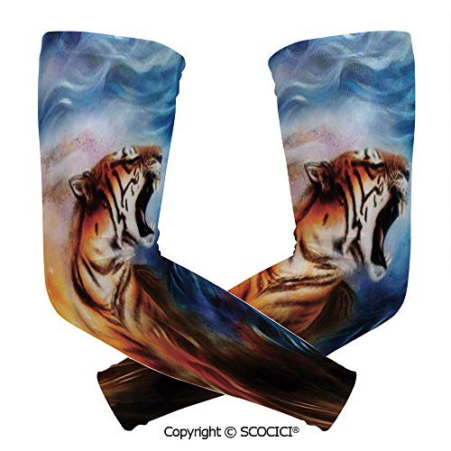 Comfort and Durable Lightweight Arm Guard Sleeve Wild and Angry Tiger Portrait Fire Blue Flame Brave Mammal Jungle Forest King Fearless Roar Breathable, Flexible Sleeves Protection ()