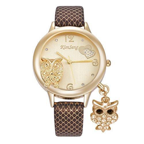 Cute Owl Pendant Rhinestone Leather Strap Mesh Pattern Band Quartz Women Girl Wrist Watch,Brown