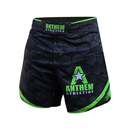 IANCE Kickboxing Short MMA Shorts - Muay Thai, BJJ, WOD, Cross-Training, OCR - Black Hex With Green - 36