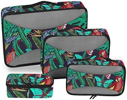 熱帯雨林の蝶のオウム荷物パッキングキューブオーガナイザートイレタリーランドリーストレージバッグポーチパックキューブ4さまざまなサイズセットトラベルキッズレディース
