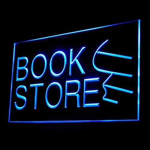 Book Store Literature Fiction Dictionary Bestseller Bible LED Light Sign 200026 Color Blue