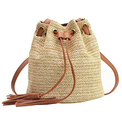 (Women's Small Drawstring Straw Crossbody Bag with Tassel Bucket Bag Beach Woven Straw Shoulder Purse)