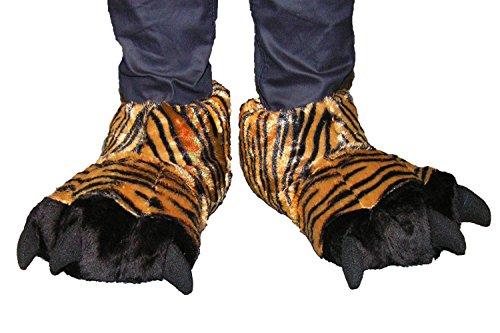 Tier Hauschuhe Herren Tiger Kralle Tatze witzige Pantoffel