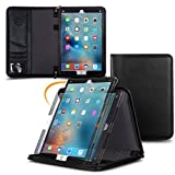 Genuine Leather iPad Pro 12.9 2017, rooCASE Premium Leather Executive Portfolio Case Cover with Apple Pencil Holder for Apple iPad Pro 12.9 2017, Black