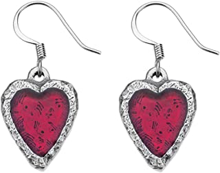 product image for DANFORTH - Heart/Crimson Earrings - 3/4 Inch - Pewter - Surgical Steel Wires - Handcrafted - Made in USA