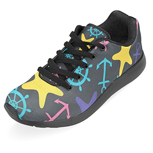 InterestPrint Womens Jogging Running Sneaker Lightweight Go Easy Walking Casual Comfort Sports Running Shoes Helm, Anchor and Starfish Multi 1