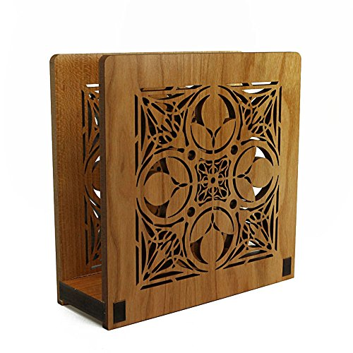 Frank Lloyd Wright NATHAN MOORE Design Laser Cut Wood Napkin Holder (Holder Design Wright Wood)