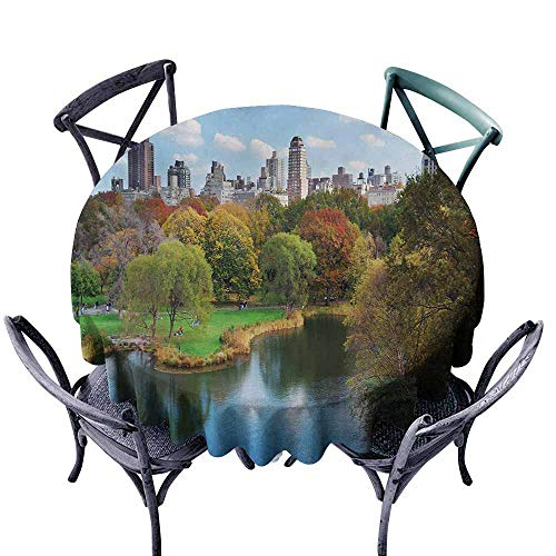 VIVIDX Fashions Table Cloth,New York,Central Park in Autumn with Lake Trees and Manhattan USA American Nature Image,Table Cover for Home Restaurant,43 INCH,Multicolor -