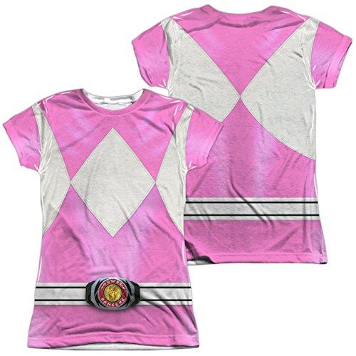 (Juniors: Power Rangers-Pink Ranger Costume Tee (Front/Back) Juniors (Slim) T-Shirt Size)