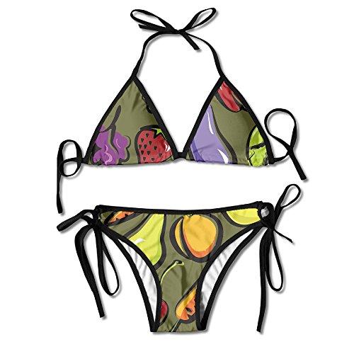 Fruit And Vegetables Dish Women Summer Sexy Bikini Set Beach Swimsuit Two Piece