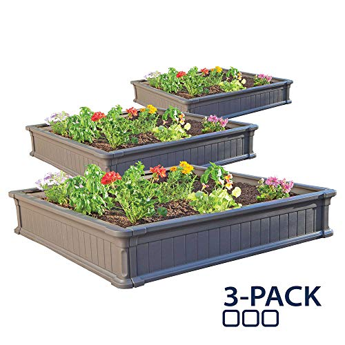 Lifetime 60069 Raised Garden Bed Kit 4 by 4 Feet Pack of 3