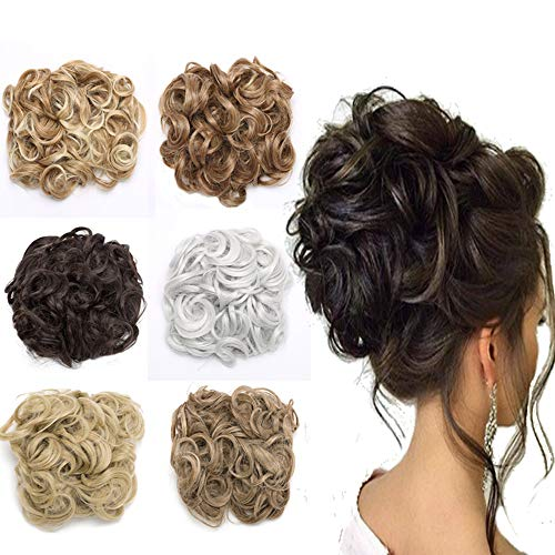 Messy Combs Hair Bun Extensions Curly Chignon Easy Stretch Dish Clip in Updo Hairpiece Ponytail Hair Scrunchy for Women 95g Dark Black