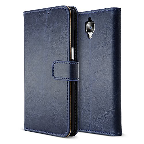 Wallet Flip Leather Case Cover For OnePlus 3T / OnePlus 3 (Blue) - 3