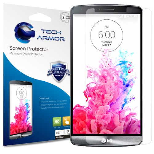 Tech Armor LG G3 HD Clear Film Screen Protector, Polyurethane Film with 99.99% HD Clarity and Touch Accuracy, Clear [3-Pack]