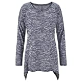 naivety Blouse Autumn Long Sleeve Round Neck Loose Tuic Irregular Hem Casual Women's Small